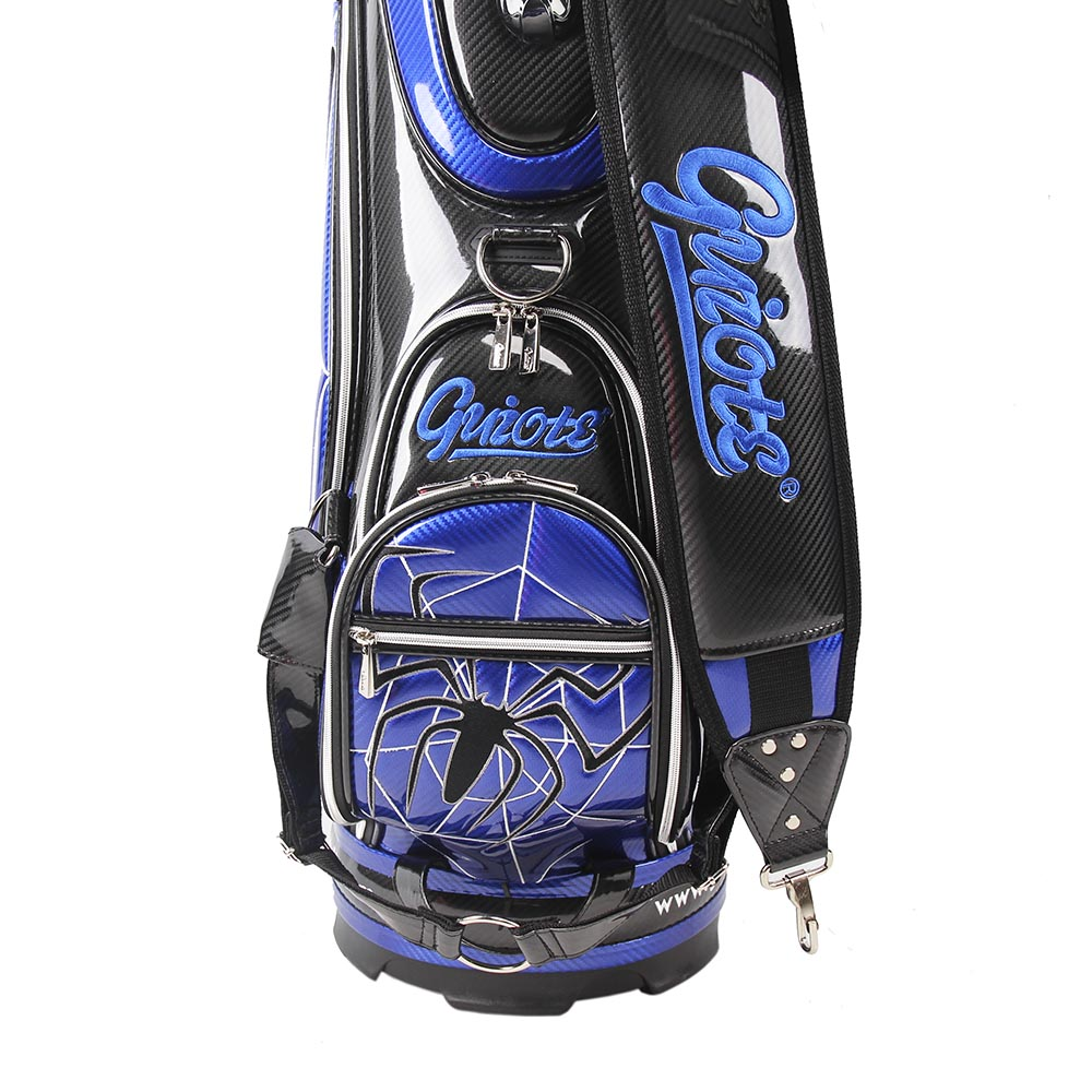 staff-bags-pro-tour-golf-club-caddy-style-sports-bag-with-blue-spider-graphic-storage-pockets-view